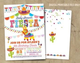 Fiesta Invitation, Fiesta Baby Shower Invitation, Fiesta Birthday Party, Mexican Baby Shower Announcement