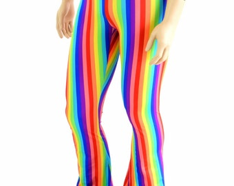 Mens Rainbow Vertical Stripe Bootcut Spandex Pants Rockstar Rave Festival Gay Pride Parade Yoga Leggings Disco - 154268