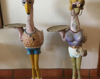Pair of Vintage 1970's Garden Flamingos