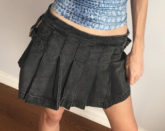 Pleated denim skirt | Etsy