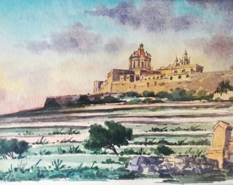 Beautiful Antique Continental Original Framed Watercolour Landscape Painting - Indistinctly Signed and Dated 1914