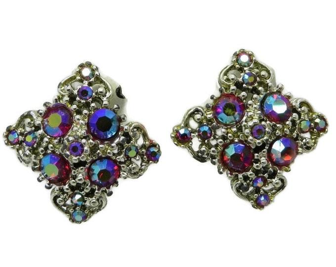 AB Rhinestone Earrings Vintage Silver Tone Earrings, Diamond Shape Clip-on Earrings
