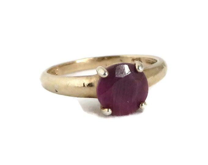 Gold Plated Silver - Vintage Ruby Ring, Victoria Townsend Ring, Gold Plated Sterling Silver Ring, Solitaire Ring, Size 6, FREE SHIPPING
