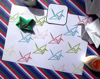 origami crane rubber stamp, origami bird stamp. japanese tsuru, hand carved rubber stamp, Paper Folding, Stamp for Kids, Teacher Stamp