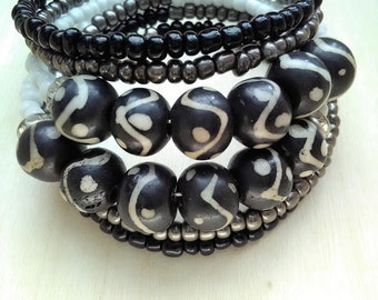 HEALTHY - Coil Memory Wire Wrap Bracelet, Affirmation Jewelry, Cause Jewelry, Benefits Homeless Mothers of Atlanta