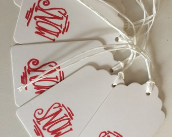 Hand stamped gift tags on white card