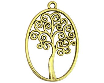 3 Oval Gold Tree of Life Charm Pendant 40x27mm by TIJC SP1579