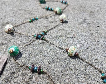 Lampwork bead and chain necklace