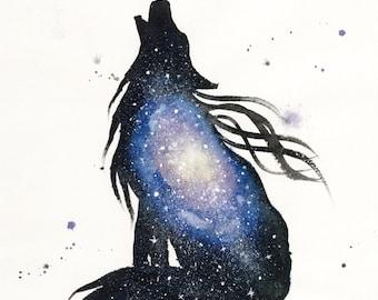 ORIGINAL Watercolour Painting - Milky Way Wolf.