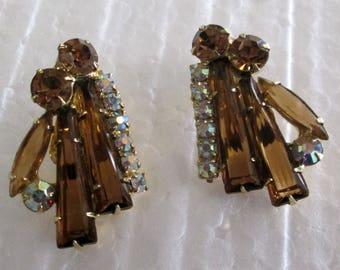 Long  Amber Baguettes  & Aurora Borealis Clip Earrings