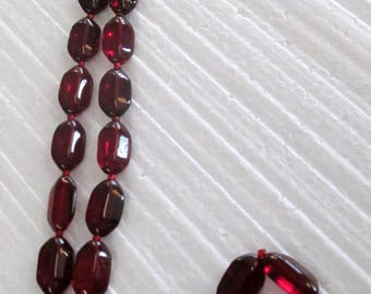 Deep Red Bohemian Glass beaded Necklace