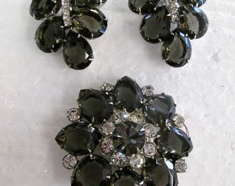 Smokey Black Brooch with crystals & Matching Earrings all pronged