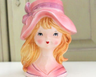 Vintage INARCO Head Vase Young Girl in Pink Floppy Hat Collectible Little Girl Flower Vase Vintage Vanity Dresser Holder Japan E2520