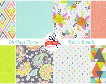 CHARTREUSE PEACH & MINT Fabric Bundle Fabric by the Yard, Fat Quarter Bundle 8 Fabrics Confetti Modern Floral 100% Cotton Quilting Fabric