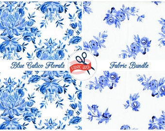 PORCELAIN BLUE FLORAL Fabric Bundle Fabric by the Yard Fat Quarter China Royal Blue Fabric Quilting Fabric 100% Cotton Fabric Apparel Fabric