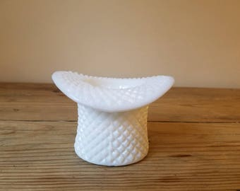 Vintage Westmoreland Milk Glass Miniature Top Hat in a Raised Diamond Pattern. Collectible Westmoreland Miniature Hat.