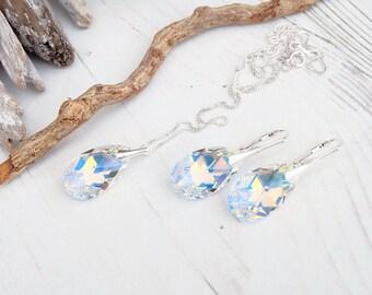 Sterling Silver Swarovski Earrings Necklace Set-Swarovski Crystal Jewellery-Clear Crystal AB-Bridesmaids Teardrop Dangle Drop Earrings