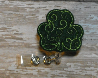 Swirl Shamrock felt badge reel, name badge holder, nurse badge, ID holder, retractable badge clip, feltie badge reel