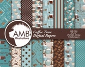 Coffee Digital Papers, Coffee Bean Papers, Coffee names paper, Chocolate brown and teal papers, cafe au lait paper, commercial use, AMB-1564