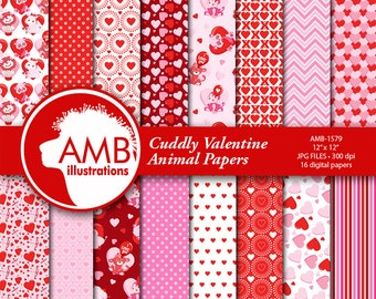 Valentine Digital Papers, Animal Valentine digital papers, Red and white Digital papers, hearts and balloon papers, AMB-1579