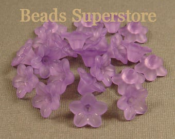 SALE 10 mm x 5 mm Purple Lucite Flower Bead - 60 pcs