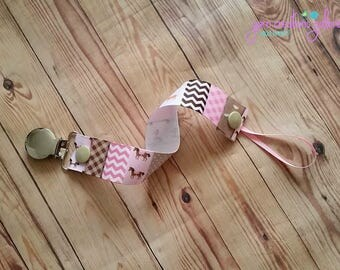 Pacifier Holder- Horse-Pink-Girl