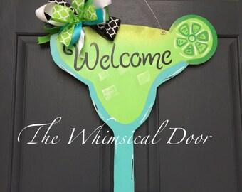 margarita door hanger summer door hanger summer wreath party door hanger