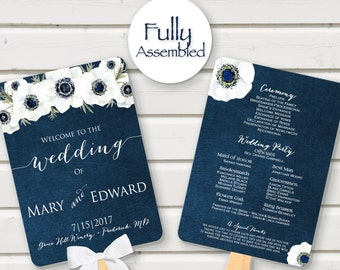Wedding Program Fan Navy White Anemone Floral Flowers Fully Assembled Ceremony Fan Programs Paddle order of events elegant