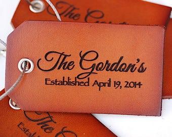 Custom Wedding Luggage Tag, Gift For Couple, Established, Mr. & Mrs, Leather Luggage Tag, Bride, Groom, Travel, Custom Luggage Tag,