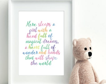 Quote print, Rainbow art, Watercolour A4 print, Typography, Nursery decor, New baby, Baby girl gift, Wall art, Here sleeps a girl.