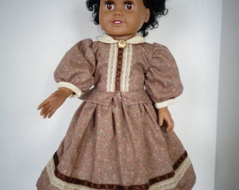 18 Inch Doll Dress/18 Inch Doll Clothes/Brown Civil War Doll Dress with Lace and Velveteen Ribbon