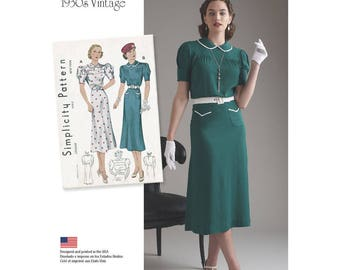 8248, Simplicity, Retro 1930's, Vintage Pattern, Misses Dress Peter Pan Collar 30's Day Dress, Sunday Dress Street Dress Afternoon Tea Dress