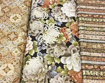 3 Fabric 'SPECIAL OFFER' Bundle Robert Kaufman - Japanese Print with Gold Metallic Tones Imperial Collection 8 Linen