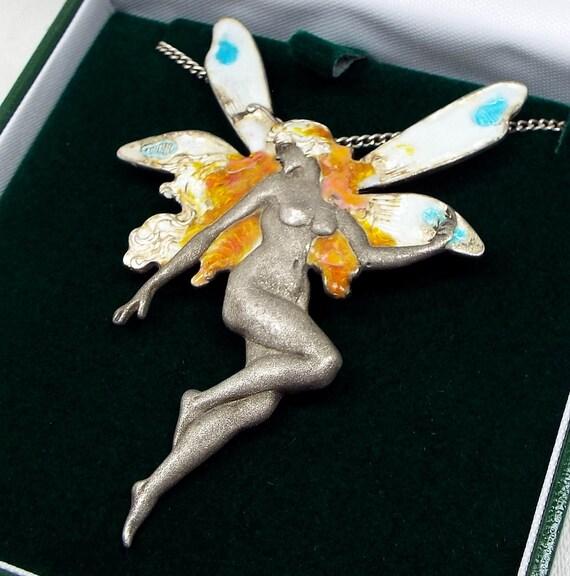 Vintage / Art Nouveau Style Sterling Silver Large Enamel Fairy Woman Necklace