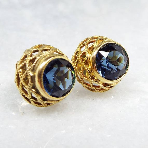 Vintage / Art Deco FB Rolled Gold Sapphire Blue Glass Filigree Stud Earrings