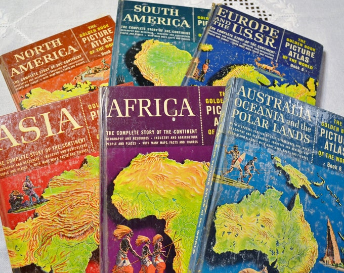 Golden Book Picture Atlas of the World Full Det Volumes 1 to 6 Maps 1960 Vintage Childrens Book Hardcover PanchosPorch