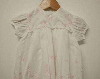 Vintage Baby White & Pink Cotton Smock with Embroidery