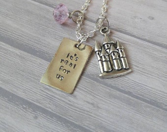 It's real for us stamped necklace with magic castle charm