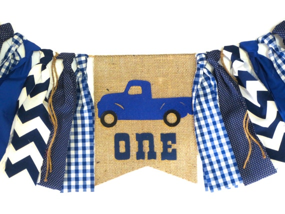 Little blue truck birthday banner high chair highchair blue for Little blue truck fabric