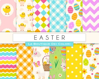 Easter Digital Paper, Spring seamless patterns, Scrapbook, Easter Egg, easter bunny, chicks, egg hunt printable backgrounds illustrations.