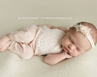 Newborn Romper, Baby Girl Romper, Newborn Photo Prop, Blush Pink, Baby Outfit, Newborn Props, Baby Props, Lace Romper, Photography Prop