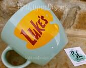 "GLITTER!  ""Mint Green"" - Original Luke's Diner Inspired stoneware Big Mug with VINYL decal logo on BOTH sides!  New with glitter!"