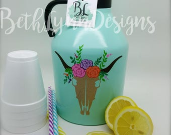 Refillable Insulated BIG 64 oz. Bottle | Perfect for On-The-Go | GLITTER Vinyl Designs | Keeps Beverages Cold | For the Family | Boho Design