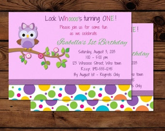 Sweet Owl Birthday Girl Invitation