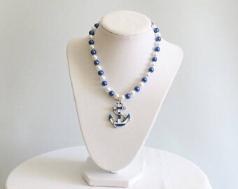 Navy Blue and White Pearls with Anchor Pendant Necklace