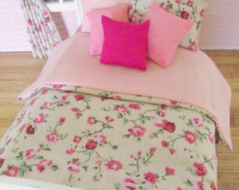 Handmade 12th scale bedding set for a single bed 6 piece cream pink shabby chic set