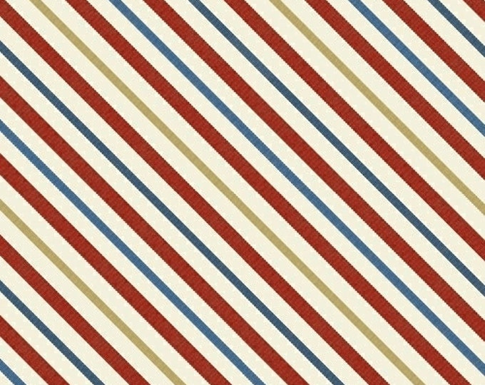 """REMNANT - Catch of the Day - White Stripe - 29"""" x WOF - Cotton Quilt Fabric - by Pela Studio - Windham Fabrics (W82)"""