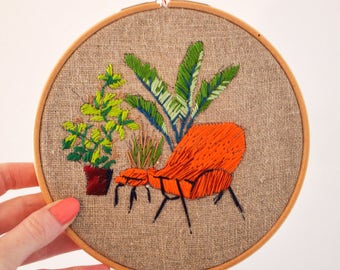 Orange armchair - Embroidered hoop for home decoration