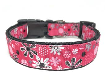 Pink Flower Dog Collar Adjustable Girly Dog Collar