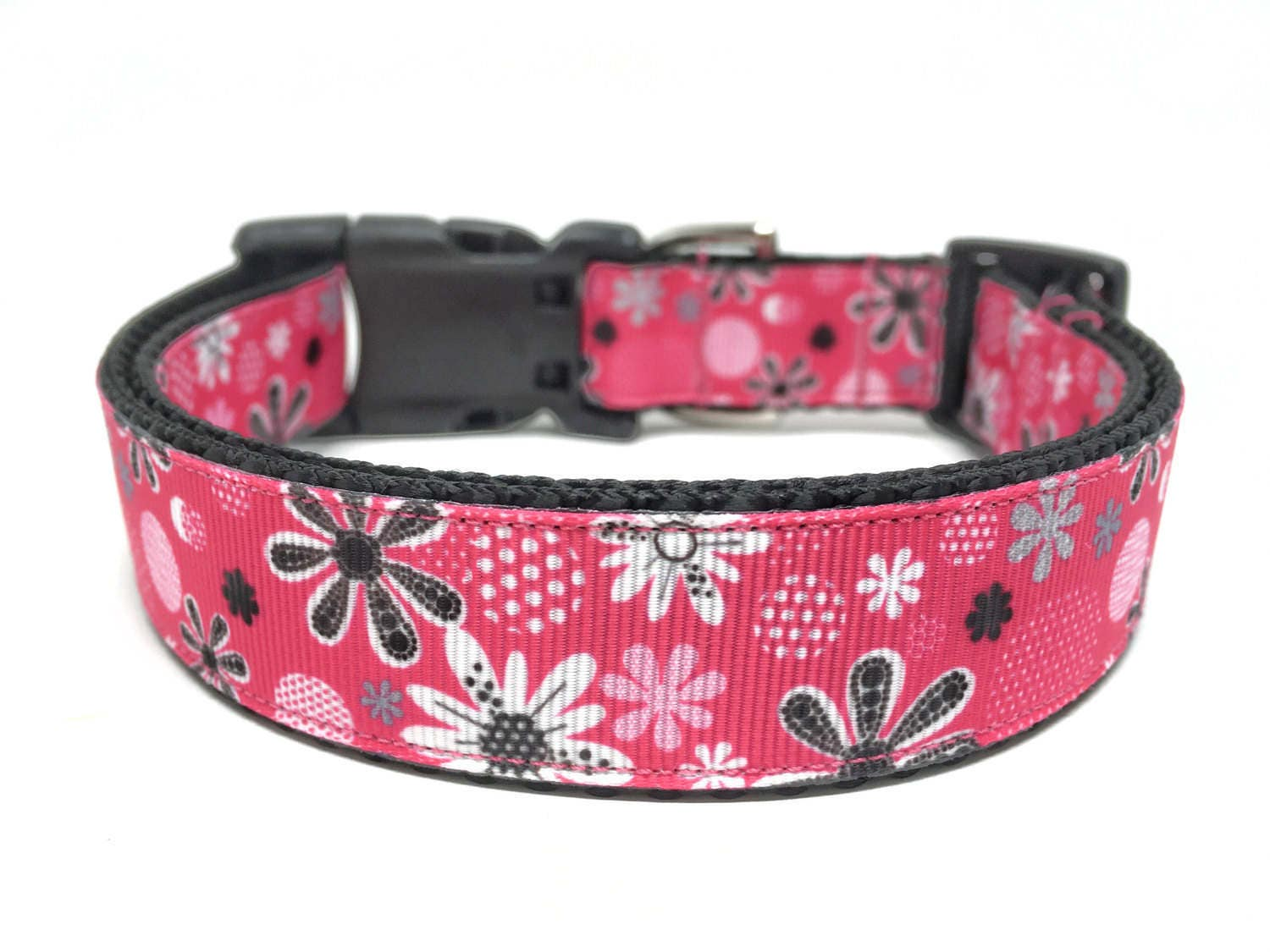 Pink flower dog collar adjustable girly dog collar zoom dhlflorist Choice Image